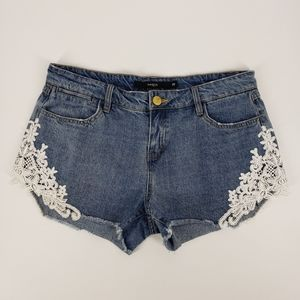 Harper Lace Detail Distressed Denim Jean Short 29